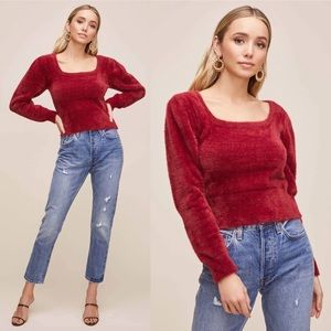 NWT ASTR The Label Wine Fuzzy Cropped LS Sweater